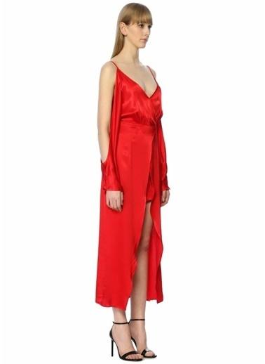 Jovonna Dekolteli Uzun Saten Elbise Kırmızı